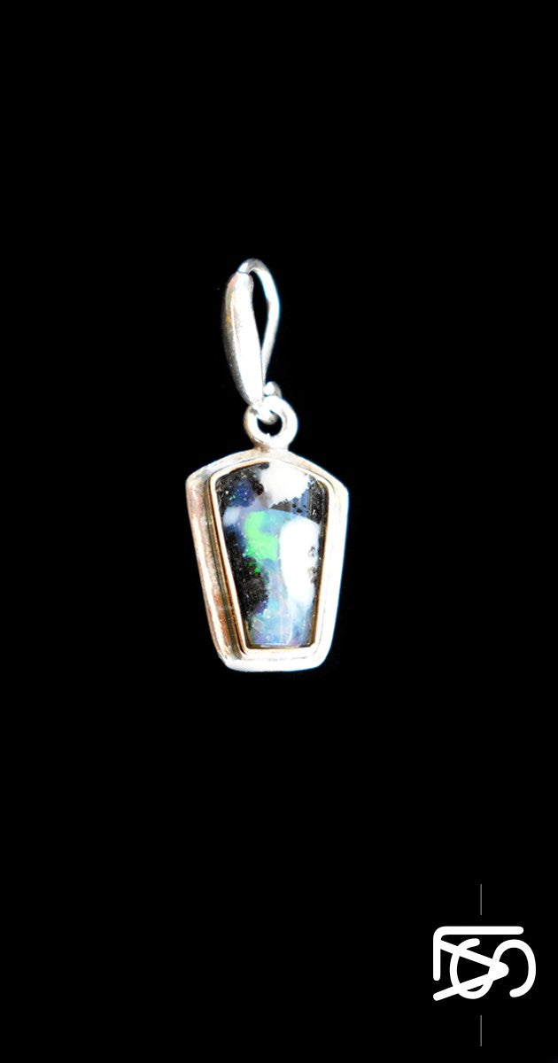 Pendant, sterling silver and 18ct gold with natural black opal.