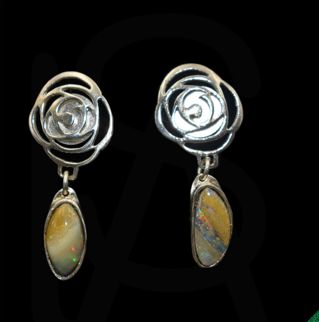 Flower sterling silver earrings with natural black opals
