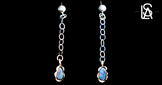 Earrings, sterling silver  with natural  black  opals.