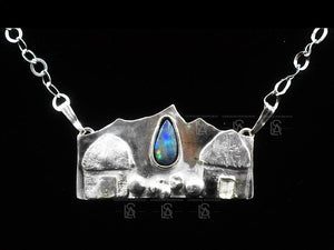 Caribbean mountain breeze pendant with natural  black opal