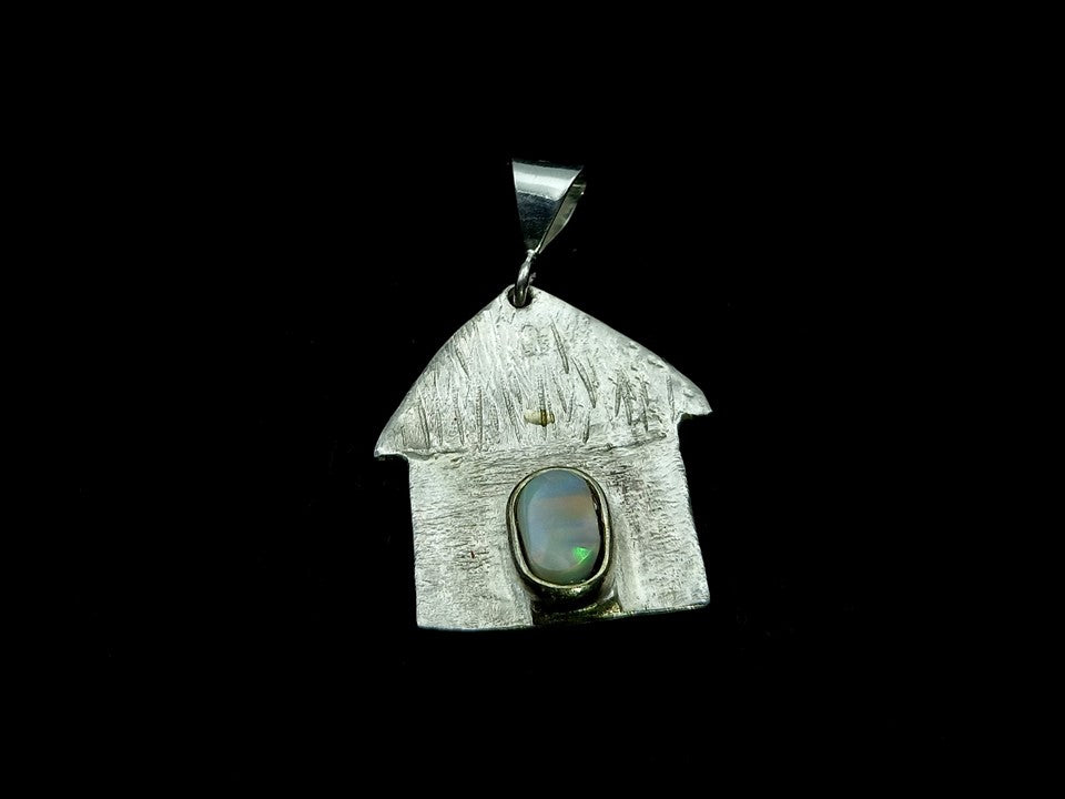 Traditional caribbean house pendant with natural black opal