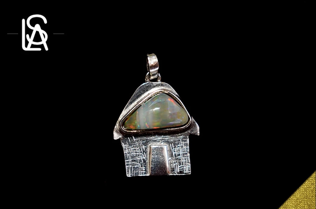 Traditional caribbean house, sterling silver pendant with natural  black opal
