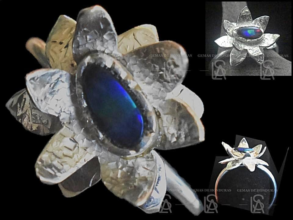 Water Lily sterling silver ring  with natural black opal