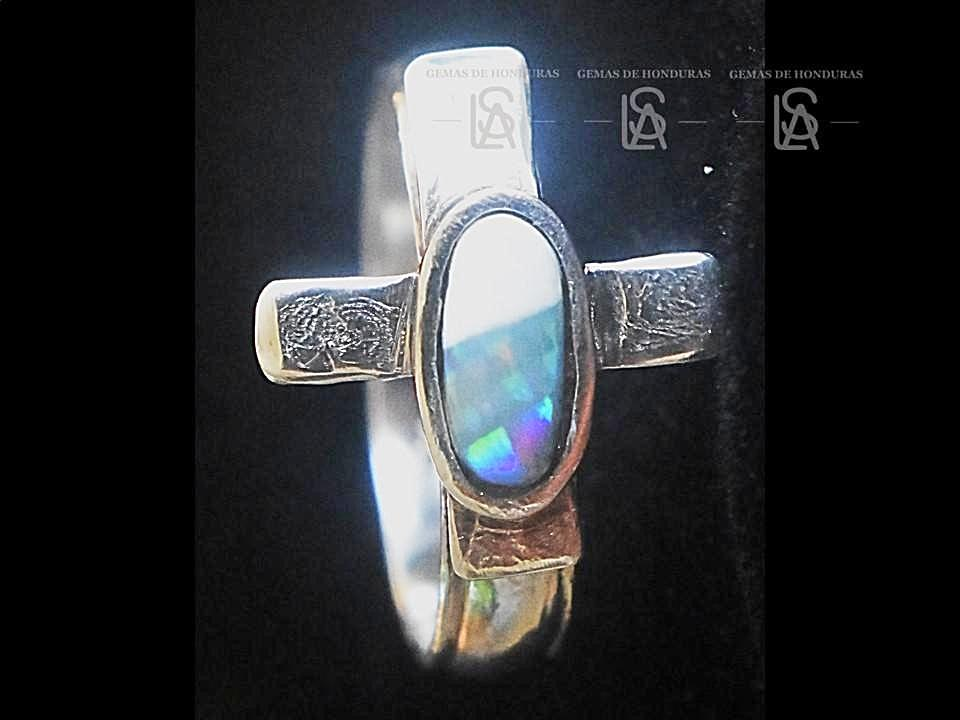 Cross ring with natural black opal
