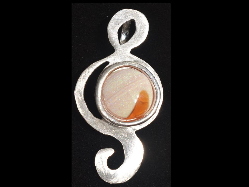 Joy, sterling silver pendant with natural, white and fire opal from Honduras.