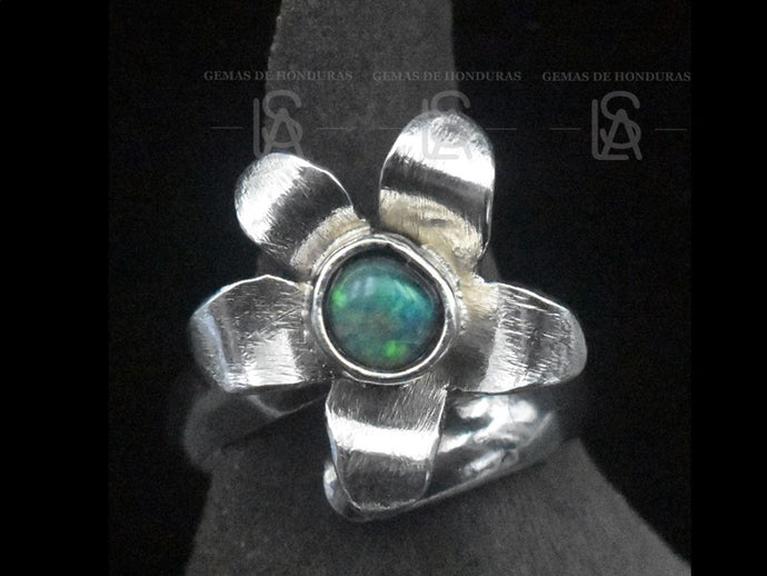 Hibiscus flower ring,  silver with natural black opal