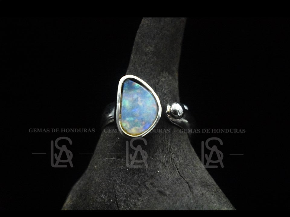 Ring, sterling silver with natural black opal