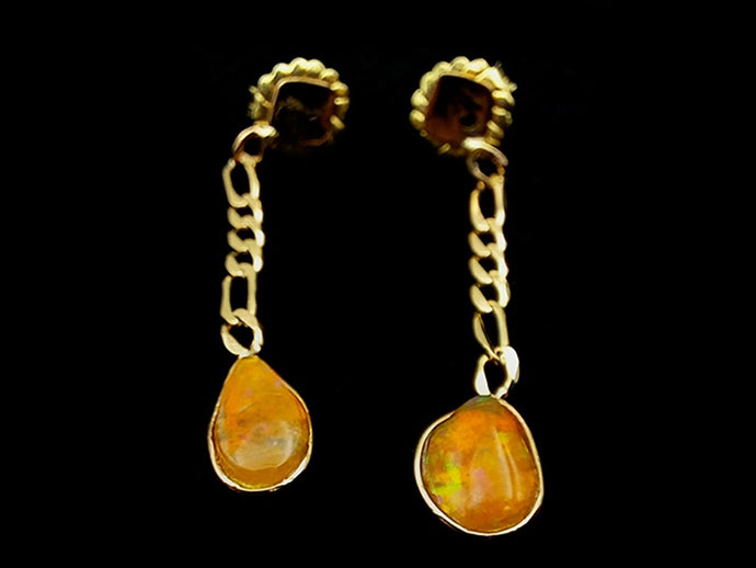 Gold earrings with natural fire opals