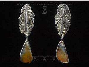 leaf earrings with opals from Honduras