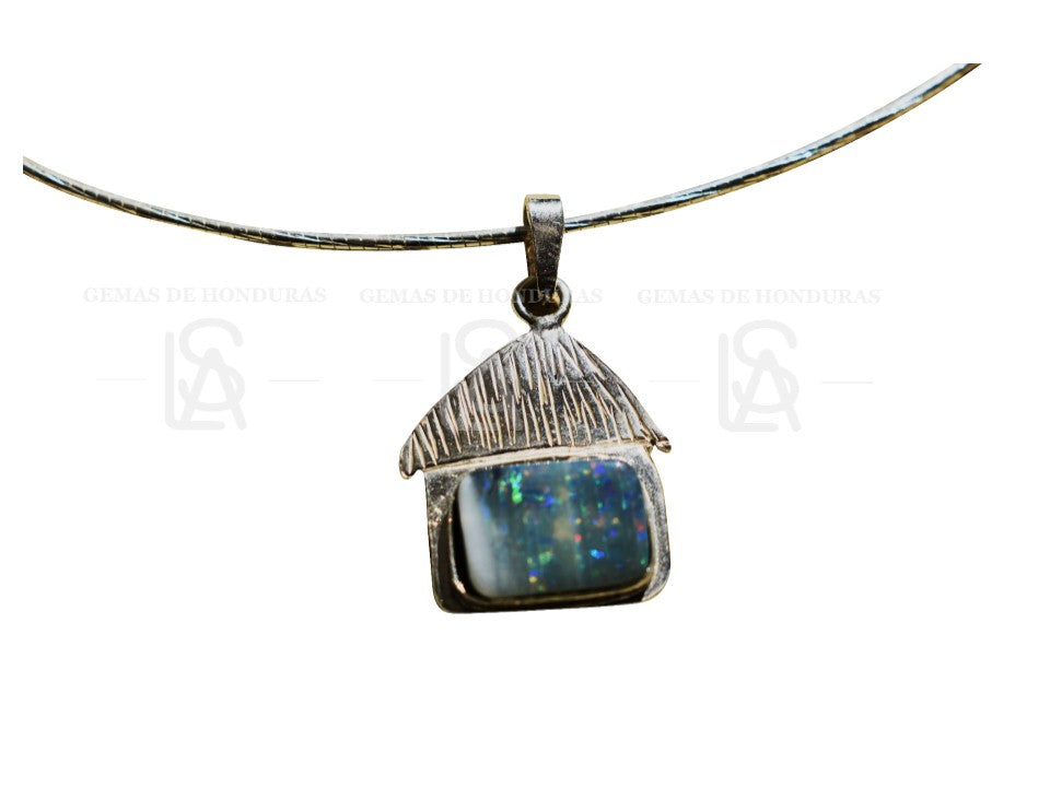 Traditional caribbean house, sterling silver pendant, with natural untreated black opal from Honduras - ALS - Gems of Honduras