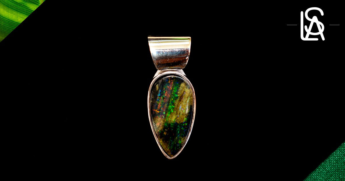 Sterling silver pendant with natural black opal