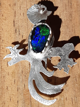 Quetzal bird pendant with black opal