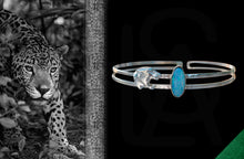 Night hunt silver cuff with natural  black opal
