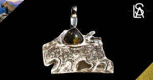 Jaguar, sterling silver pendant with natural black opal