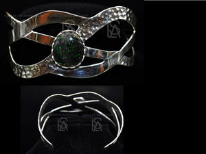 Waves, handmade sterling silver cuff with matrix opal from Honduras - ALS - Gems of Honduras
