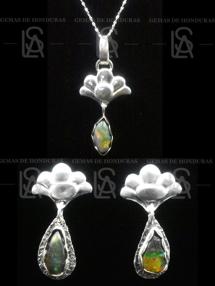 Tropical flower set - pendant and earrings-  with black natural opals from Honduras