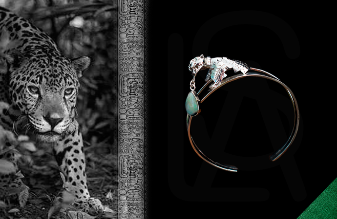Hunter and prey silver cuff with natural black opal