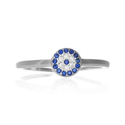 New 925 Sterling Silver Evil Eye Cubic Zirconia CZ Ring