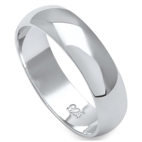 5MM SOLID ROUND PLAIN .925 STERLING SILVER WEDDING BAND