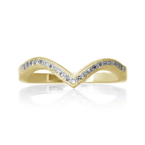 New Chevron V Cubic Zirconia Yellow Gold 925 Sterling Silver Ring