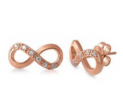 New Infinity Cubic Zirconia Rose Gold Plated 925 Sterling Silver Stud Earrings
