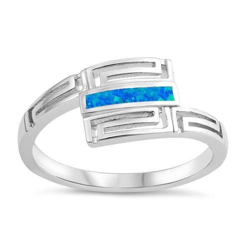 Blue Opal Fashion .925 Sterling Silver Ring