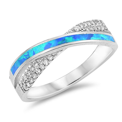 New Lab Created Blue Opal & CZ 925 Sterling Silver Ring