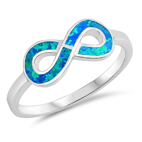 New Lab Created Blue Opal Infinity 925 Sterling Silver Ring