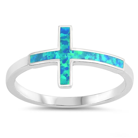 New Lab Created Blue Opal Cross 925 Sterling Silver Ring