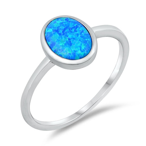 New Oval Lab Created Blue Opal 925 Sterling Silver Ring