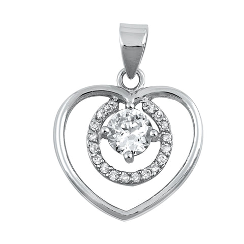 New Heart Shape Cubic Zirconia 925 Sterling Silver Pendant