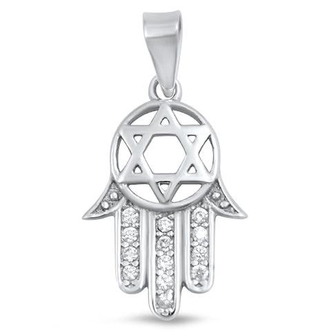 New Hand Of Hamsa Cubic Zirconia 925 Sterling Silver Pendant