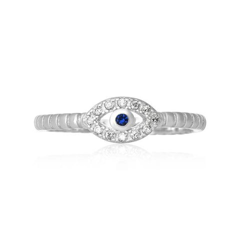 New Evil Eye Ribbed Shank CZ 925 Sterling Silver Ring