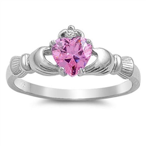New Claddagh Pink CZ 925 Sterling Silver Ring
