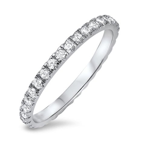 New Round Cz Eternity Style Band .925 Sterling Silver Ring