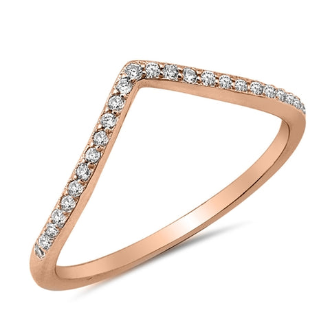 New V-Shape Cubic Zirconia Rose Gold Plated 925 Sterling Silver Ring
