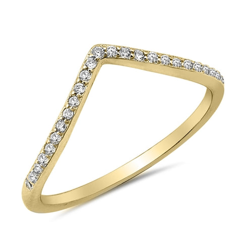 New V-Shape Cubic Zirconia Yellow Gold Plated 925 Sterling Silver Ring