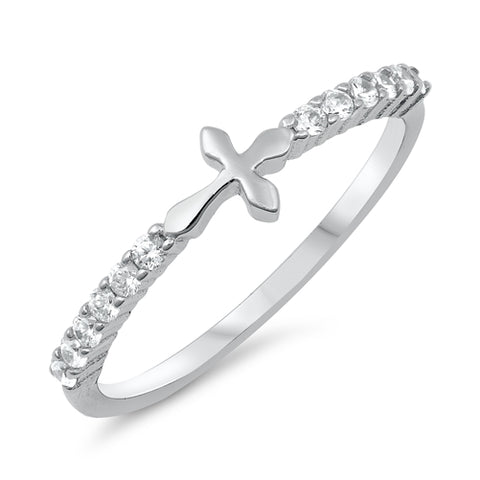 New Little Cross Cubic Zirconia 925 Sterling Silver Ring