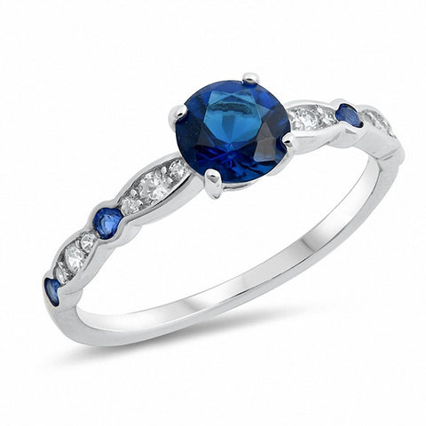 Round Simulated Blue Sapphire Cubic Zirconia 925 Sterling Silver Ring