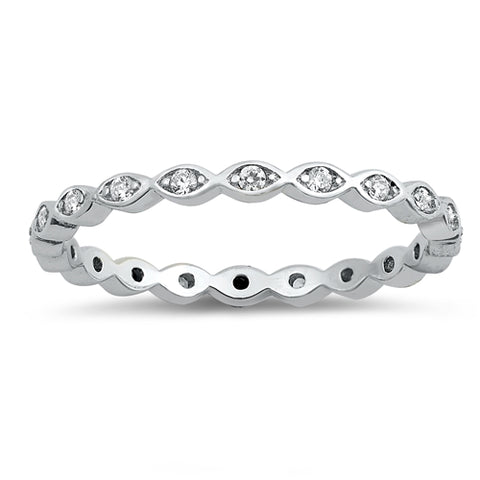 Eternity Band With Clear Cz 925 Sterling Silver