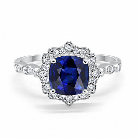 Halo Art Deco Cushion Cut Blue Sapphire Round CZ 925 Sterling Silver Ring