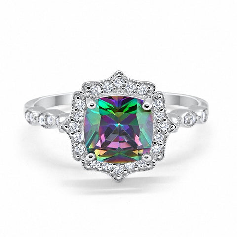 Halo Art Deco Cushion Cut Raiow Topaz Round CZ 925 Sterling Silver Ring