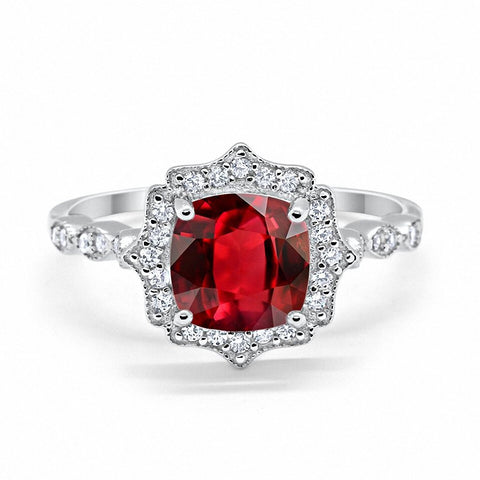 Halo Art Deco Cushion Cut Ruby Round CZ 925 Sterling Silver Ring