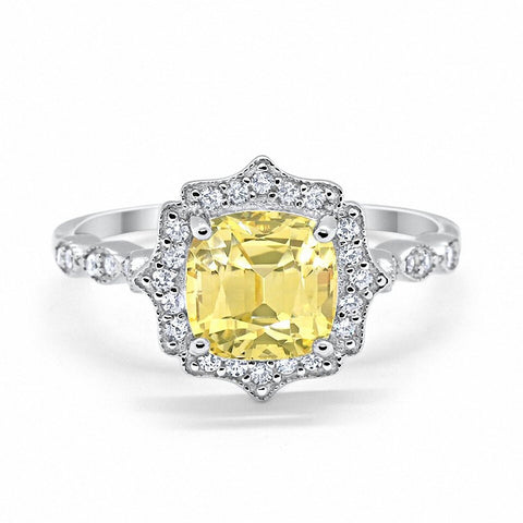 Halo Art Deco Cushion Cut Yellow Round CZ 925 Sterling Silver Ring