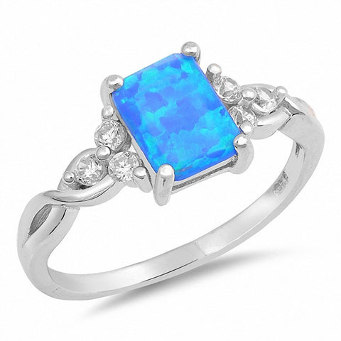 Radiant Cut Lab Created Blue Opal Round CZ 925 Sterling Silver Ring