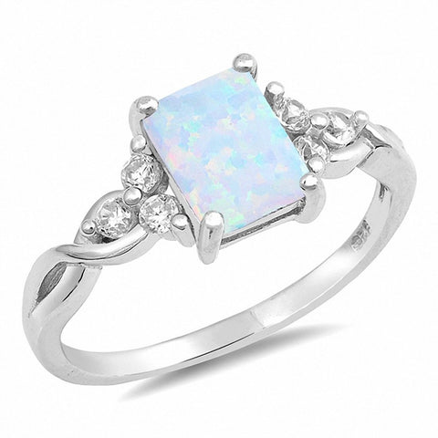 Radiant Cut Lab Created White Opal Round CZ 925 Sterling Silver Ring