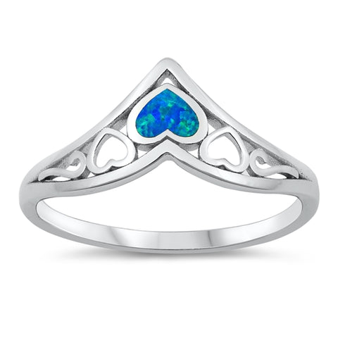 New Blue Opal Small Hearts 925 Sterling Silver Ring
