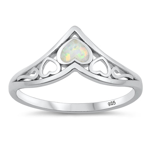 New White Opal Small Hearts 925 Sterling Silver Ring