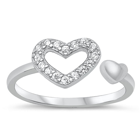 New Open Heart CZ 925 Sterling Silver Toe Ring