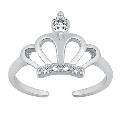 New Cubic Zirconia Crown 925 Sterling Silver Toe Ring